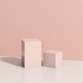 Podium rose d'image de rendu 3d avec la publicité d'affichage de produit de fond rose