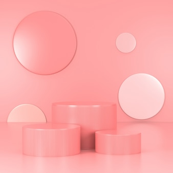 Podium rose minimal. scène de mur rose. pastel. rendu 3d.