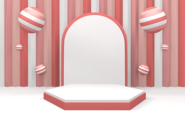 Podium rose moderne affiche un design minimal sur fond rose et rouge. rendu 3d