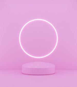 Podium rose de rendu 3d sur fond rose et ligne lumineuse circulaire