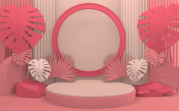 Le podium rose de la saint-valentin rendu 3d de conception minimale