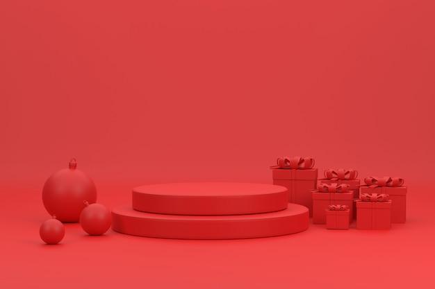 Podium rouge 3d boules de noël et coffrets cadeaux pour le produit d'exposition au festival de noël