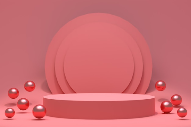 Podium rouge abstrait minimal pour la présentation du produit
