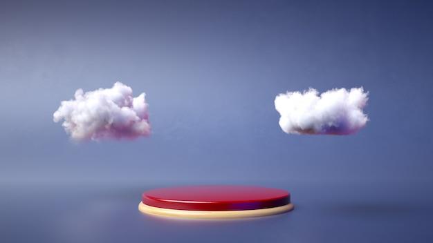 Podium rouge et bois sur fond bleu. présentoir de produit. insérez votre produit. rendu 3d.