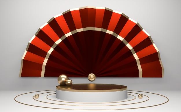 Podium rouge, design géométrique rouge minimal rendu 3d