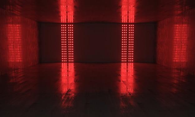 Podium rouge foncé futuriste avec fond clair et reflet. rendu 3d.
