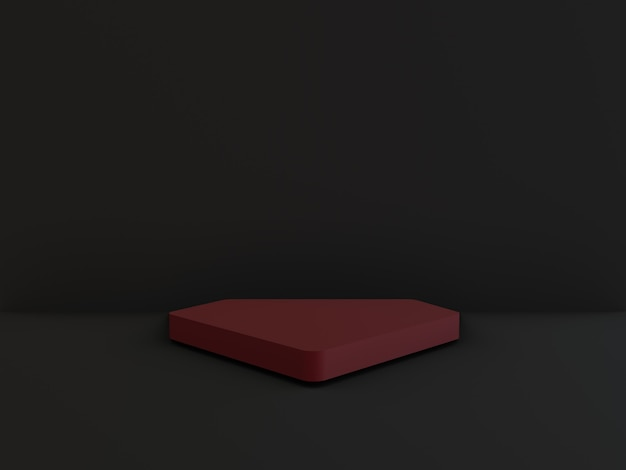 Podium rouge minimaliste géométrique avec noir