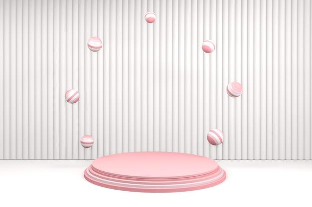 Podium de la saint-valentin dans la plate-forme d'amour, conception minimale de podium rose de la saint-valentin.