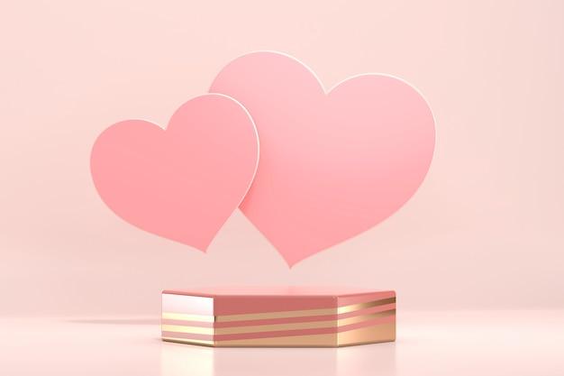 Podium de la saint-valentin maquette avec vitrine d'affichage de produit coeur rendu 3d