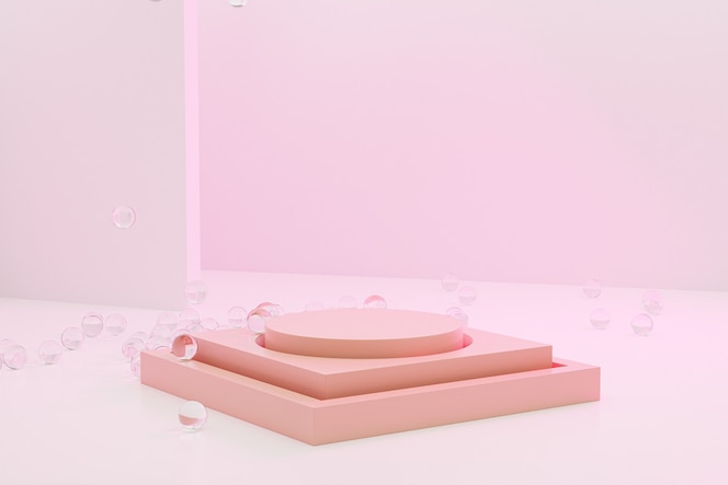 Podium de scène beige ou piédestal pour les produits sur fond rose pastel, rendu d'illustration 3d minimal