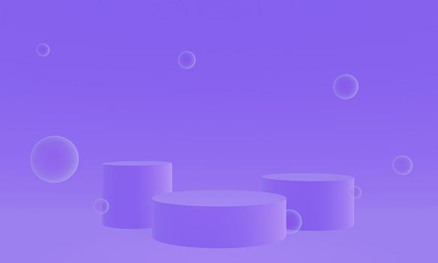 Podium de scène de bulle violet rendu 3d