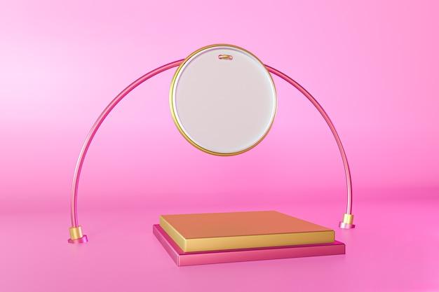 Podium de scène or sur rose pour l'affichage du produit, composition 3d abstraite
