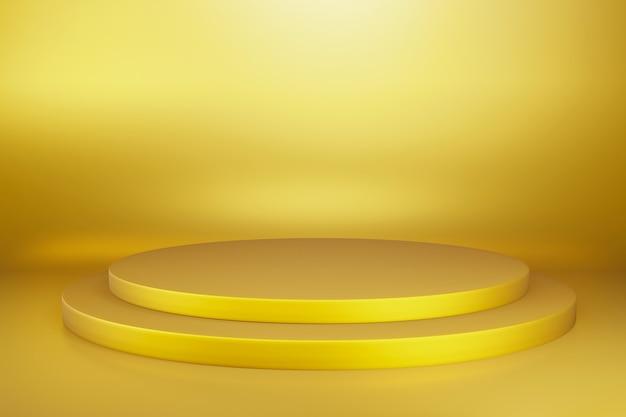 Podium de scène de piédestal circulaire abstrait or