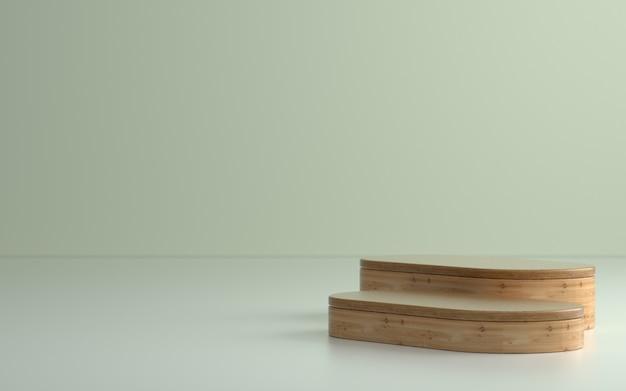 Podium ou scène de produit en bois dans une pièce vide avec un éclairage tamisé