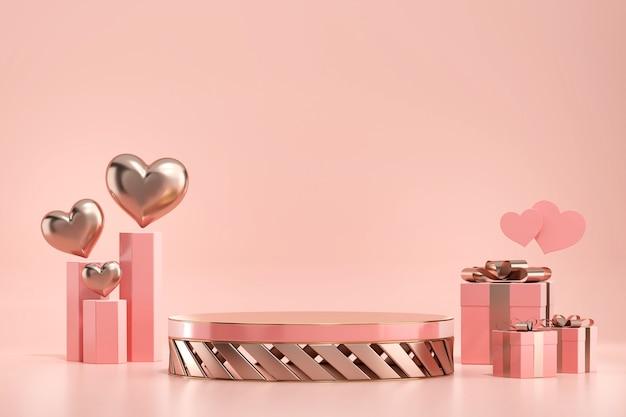 Podium de scène de la saint-valentin maquette avec coeur et coffrets cadeaux décoration présentoir de produit vitrine 3d render
