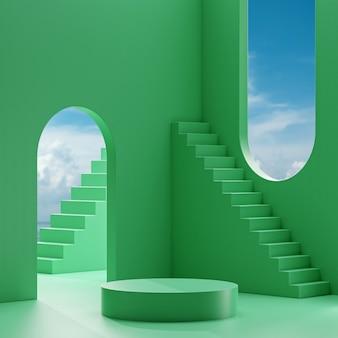 Podium de scène se tenir sur un fond vert avec ciel bleu et nuages sur une journée ensoleillée