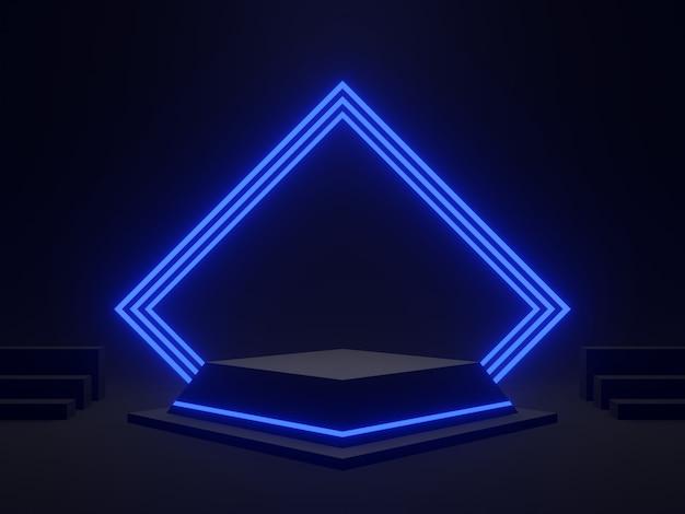 Podium scientifique noir rendu en 3d avec lumière bleue. fond sombre.
