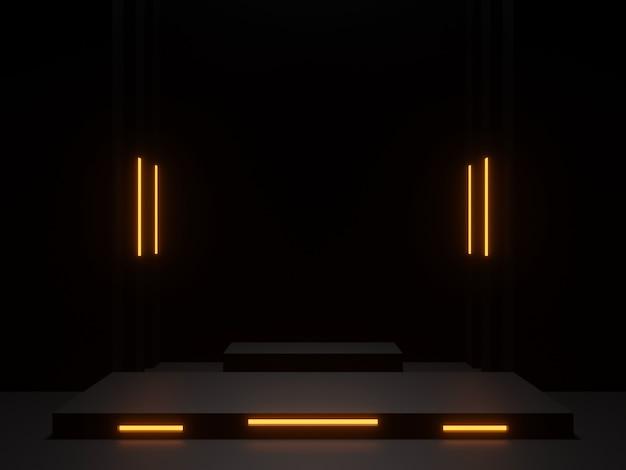 Podium scientifique noir rendu 3d avec néons dorés