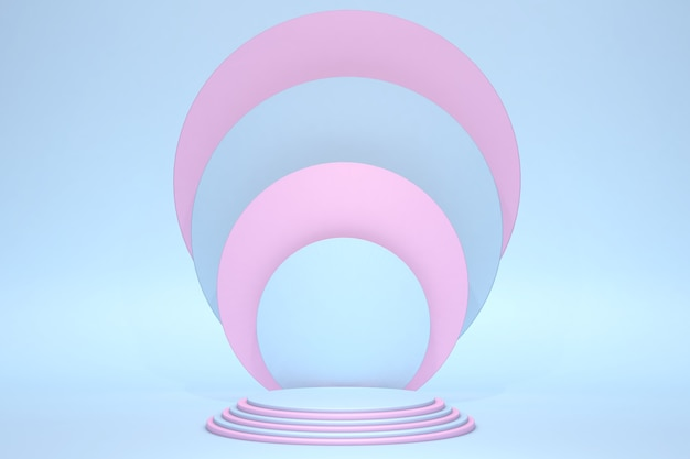 Podium de socle de cylindre abstrait bleu et rose pastel clair salle vide rendu 3d forme géométrique présentation du produit présentation de l'affichage du produit salle rose bleu pastel scène murale minimale