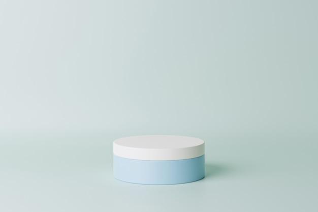 Podium ou socle cylindrique bleu pastel pour produits. rendu 3d dans un style minimal.