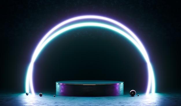 Podium, socle ou plateforme néon rond