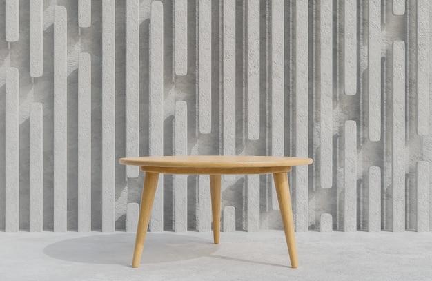 Podium de table en bois pour la présentation du produit sur fond de mur en béton, modèle 3d et illustration de style minimaliste.