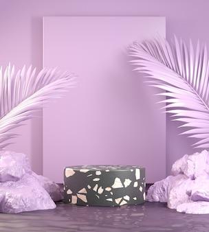 Podium de terrazzo noir minimal sur fond violet