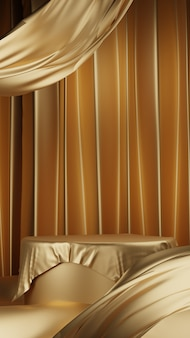 Podium en tissu doré de luxe 3d
