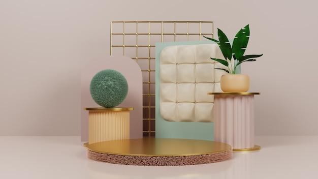 Podium en tissu moelleux avec de l'or et des plantes tropicales