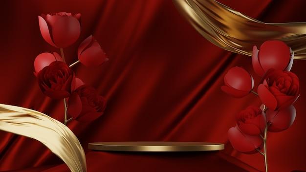 Podium en tissu or rouge 3d
