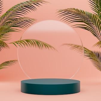 Podium en verre sur un fond de nature avec des palmiers pour le placement de produit