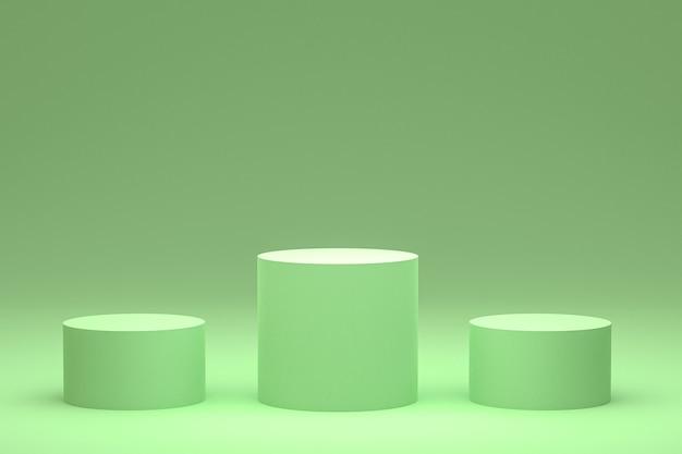 Podium vert minimal ou rendu 3d du support de produit pour la présentation de produits cosmétiques