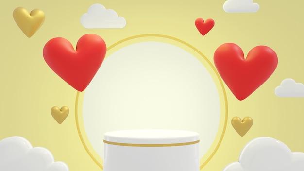 Podium vide entourant la forme de coeurs mignons et nuage en rendu 3d pour la saint-valentin. illustration 3d