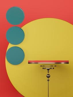 Podium vide pour le produit actuel sur fond de cercle coloré