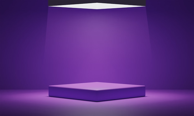 Podium violet vide et fond clair.