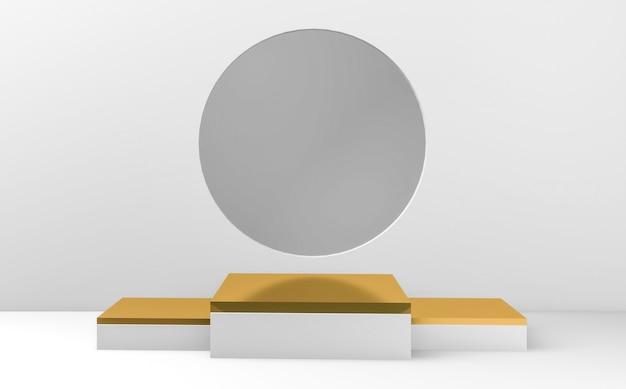 Podiums carrés or et blanc sur fond gris