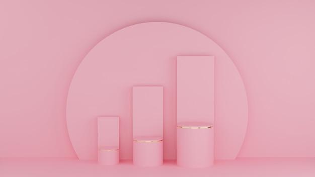 Podiums en cercle 3d de couleur rose pastel et bord doré avec trois barres graphiques