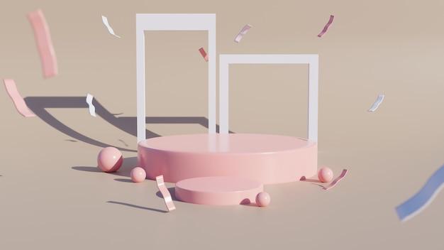 Podiums cylindriques ou affichage sur fond marron. scène minimale abstraite avec géométrique. concevoir un espace vide.