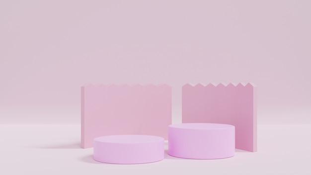 Podiums cylindriques ou affichage sur fond rose. scène minimale abstraite avec géométrique. concevoir un espace vide.