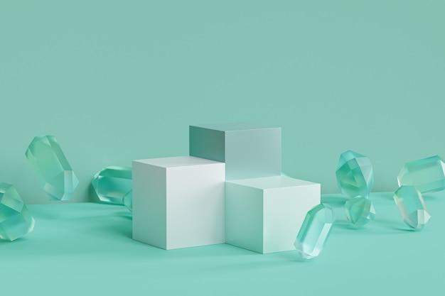 Podiums de menthe verte avec des cristaux de verre sur une surface pastel