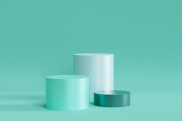 Podiums de menthe verte sur surface pastel