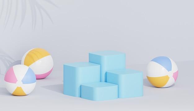 Podiums ou piédestaux bleus pour produits ou publicité sur fond tropical avec ballons de plage, rendu 3d