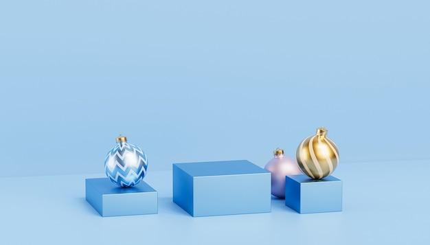 Podiums ou piédestaux bleus de vacances de noël ou du nouvel an pour les produits ou l'arrière-plan publicitaire avec des boules, rendu 3d