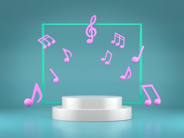 Podiums pour exposition de produits avec des notes de musique colorées.