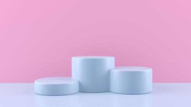 Podiums, stands, socles cylindriques colorés pour la présentation des produits. minimaliste et simple.