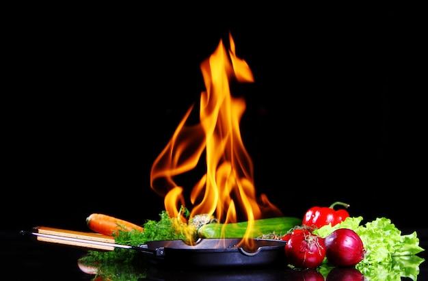 Poêle à frire avec feu brûlant à l'intérieur