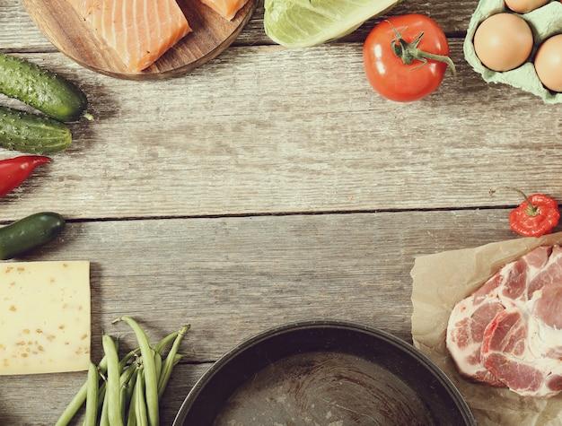 Poêle à frire vide et fond de cadre de légumes, vue de dessus