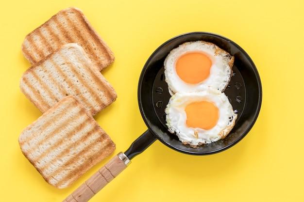 Poêle avec des œufs au plat et du pain grillé