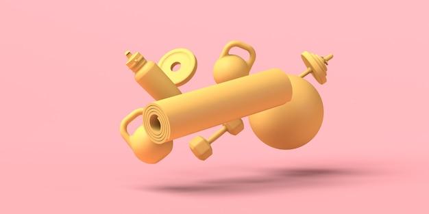 Poids, bouteille d'eau, ballon de pilates et tapis flottant. illustration 3d. espace de copie. aptitude.