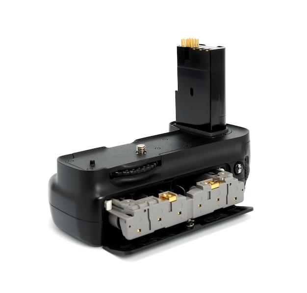Poignée de batterie pour appareils photo reflex numériques isolé sur fond blanc